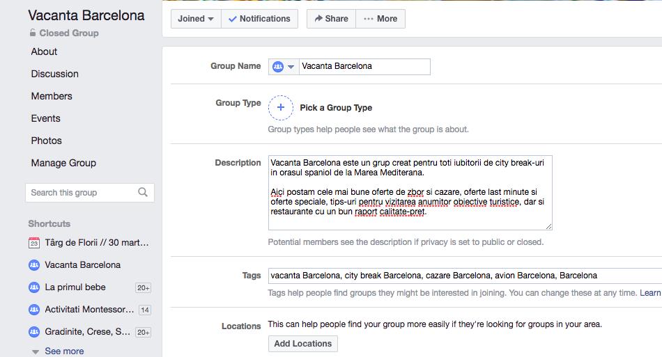 descriere grupuri Facebook